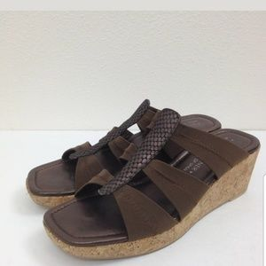 PLINER cork/fabric wedge slides sandals
